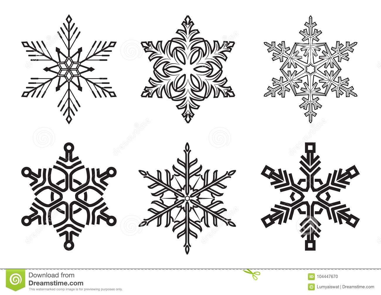 Set Of Different Winter Snowflakes On White Background