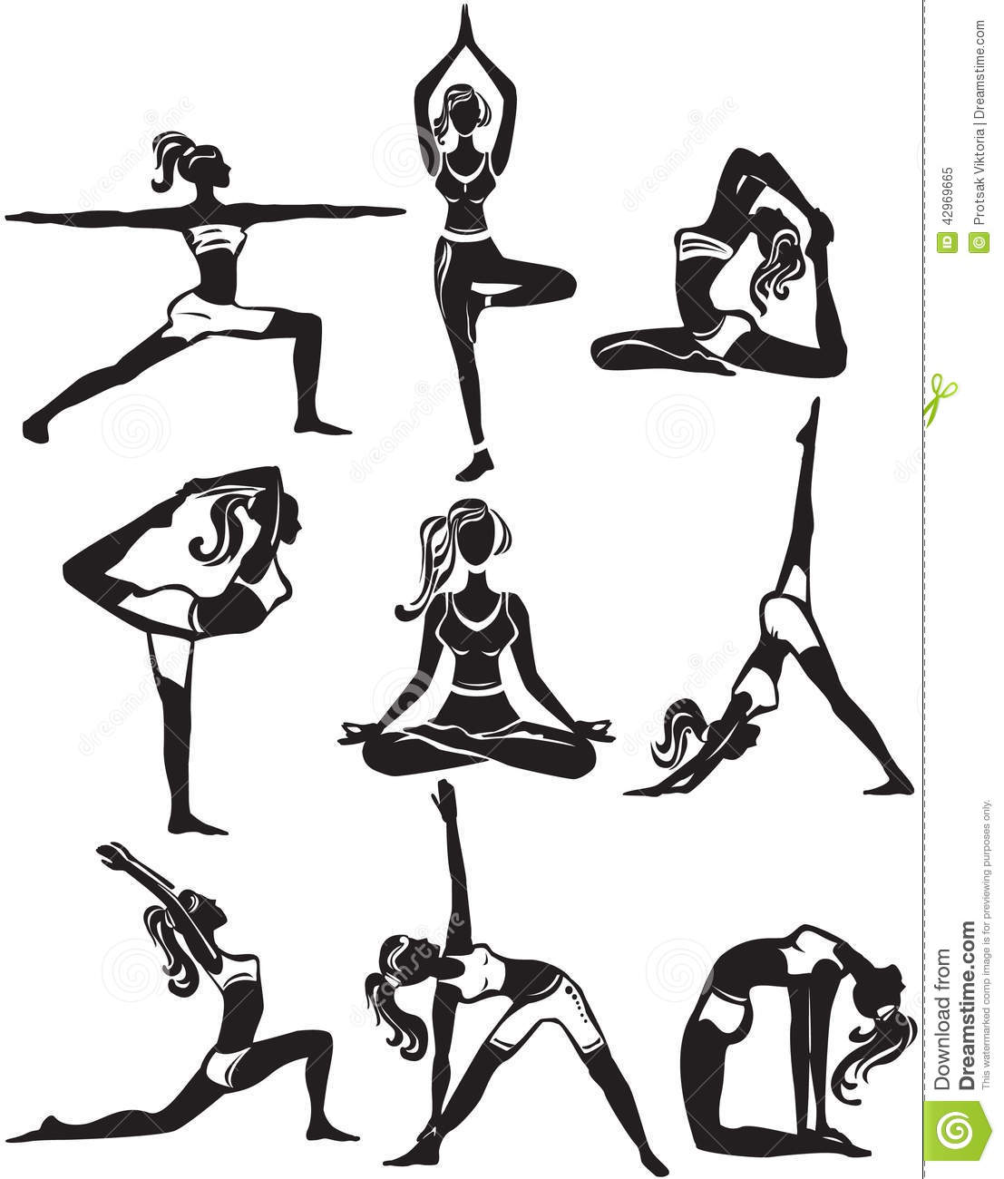 Set Of Doing Yoga Poses Stock Vector