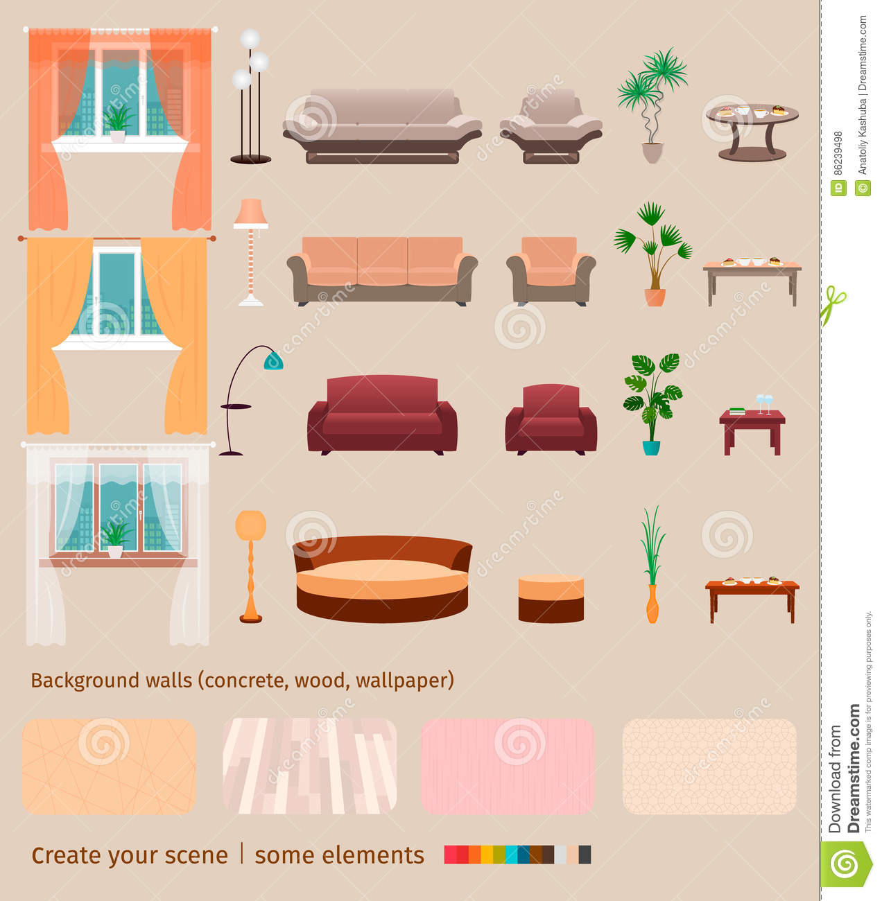 create your own living room set the best paint colors of domestic elements and furniture to home interior scene