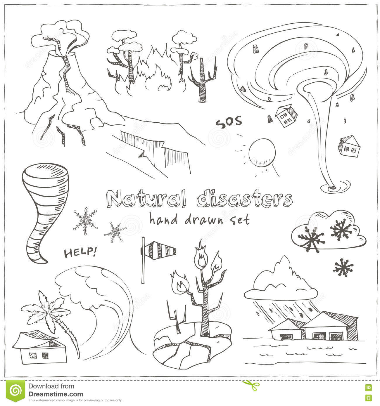 Set Of Doodle Sketch Natural Disasters Stock Vector