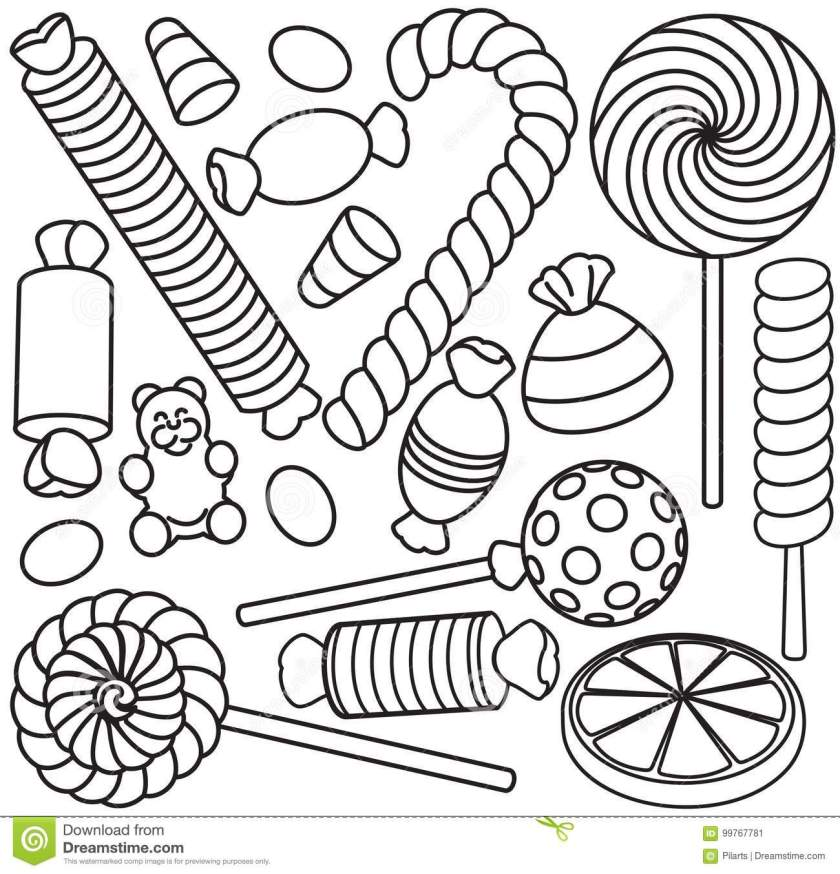 set of doodle sketch sweets and candy stock vector