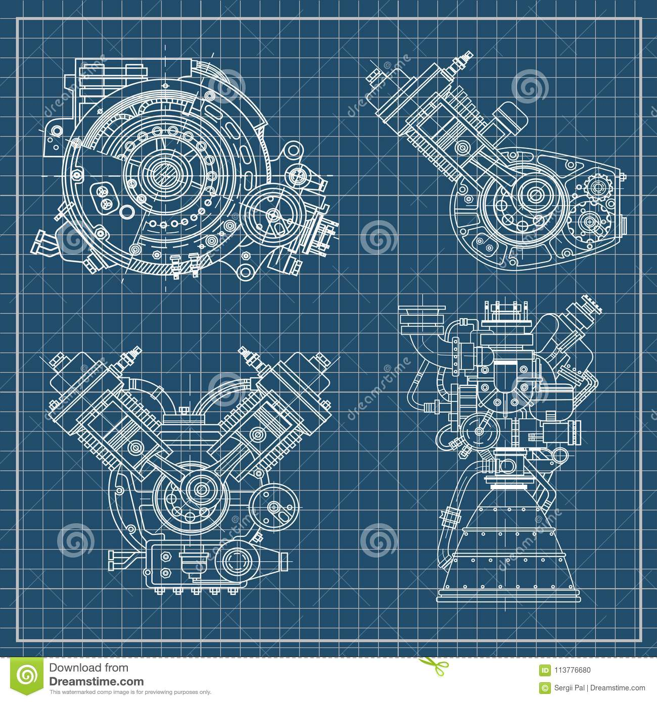 hight resolution of set of drawings of engines motor vehicle internal combustion engine motorcycle electric motor