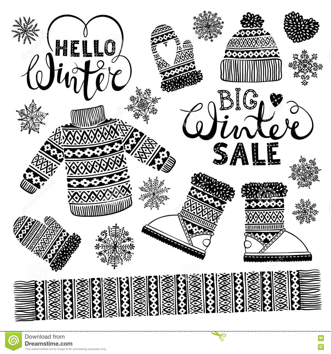 Set Drawings Knitted Woolen Clothing And Footwear. Sweater