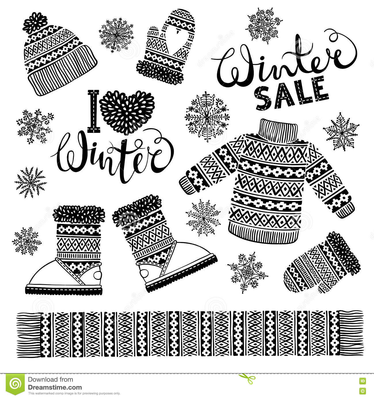 Set Of Winter Patterns With Snowflakes. Royalty-Free Stock