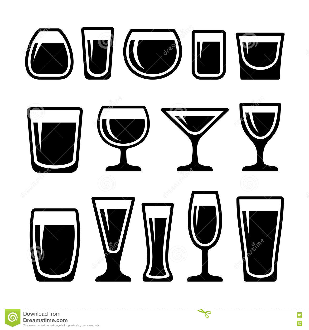 Set Of Drink Glasses Icons Stock Vector Illustration Of