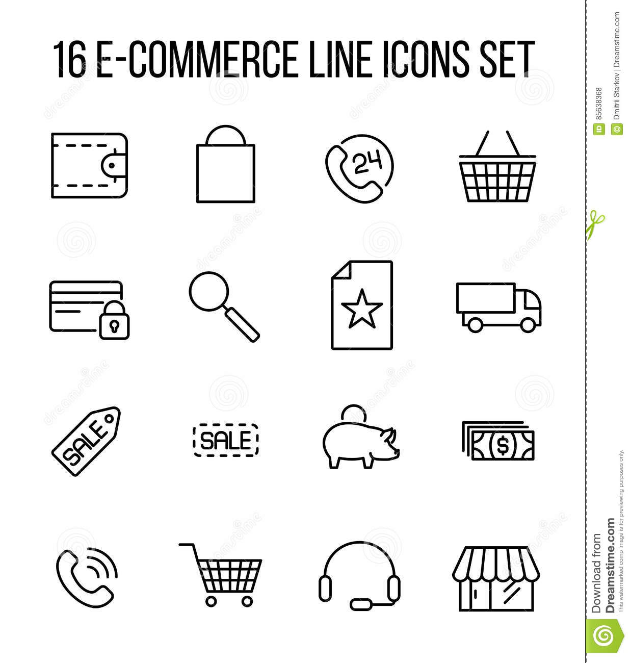 Set Of E-commerce Icons In Modern Thin Line Style. Stock