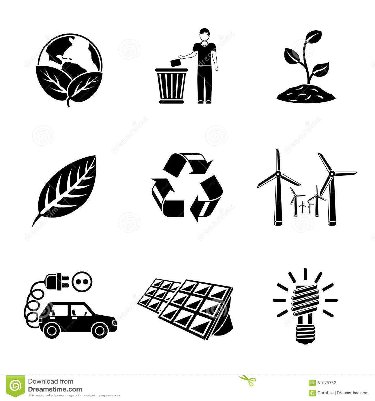 Set Of Ecology Icons With