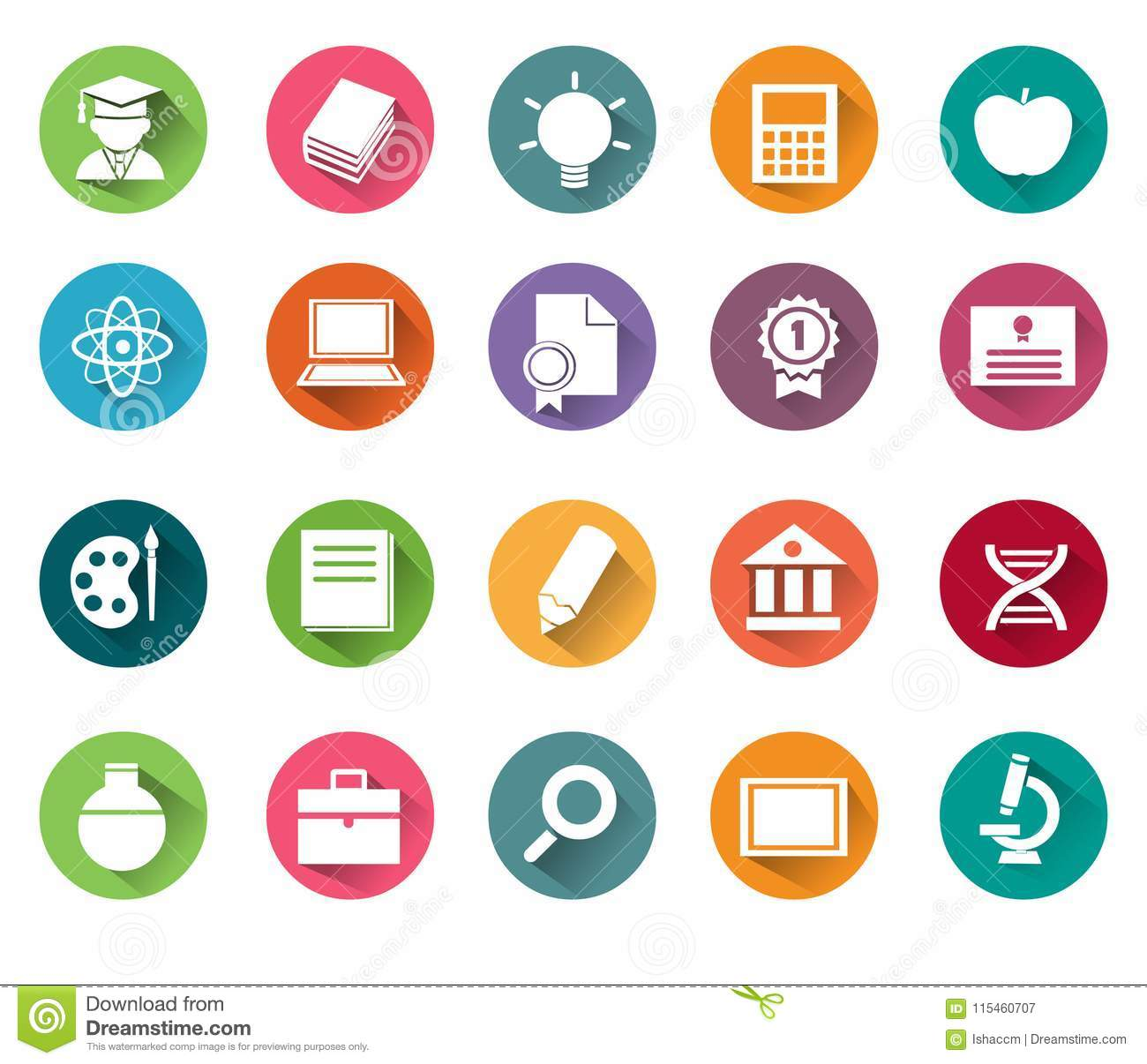 Education Iconst Of 20 Learning Icons Vector Isolated
