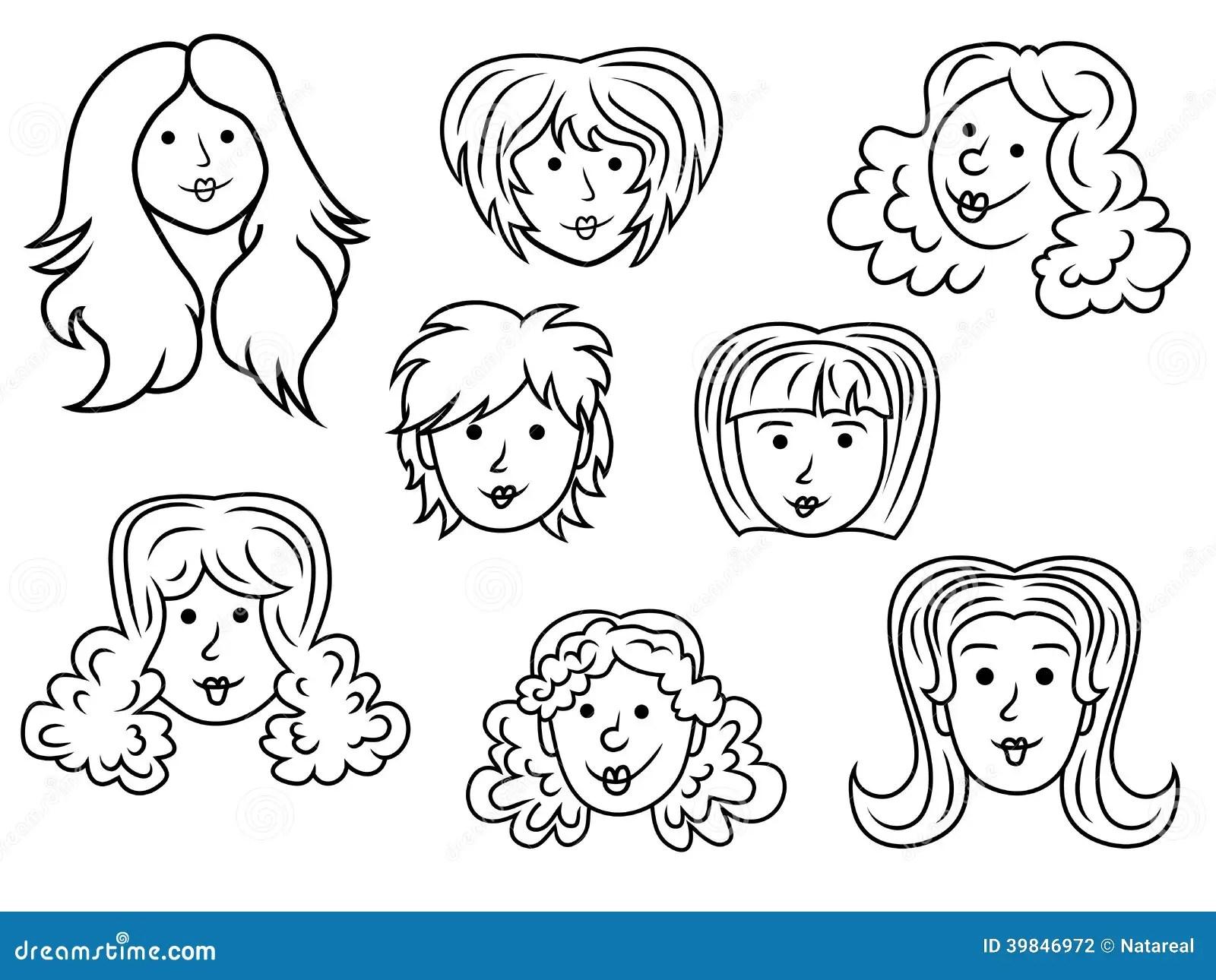 Set Of Eight Cartoon Women Contour Faces Stock Vector