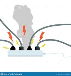 plugs into connectors with wires electrical appliance in operation tee household appliance modern communications circuit fault fire danger  [ 1600 x 1689 Pixel ]