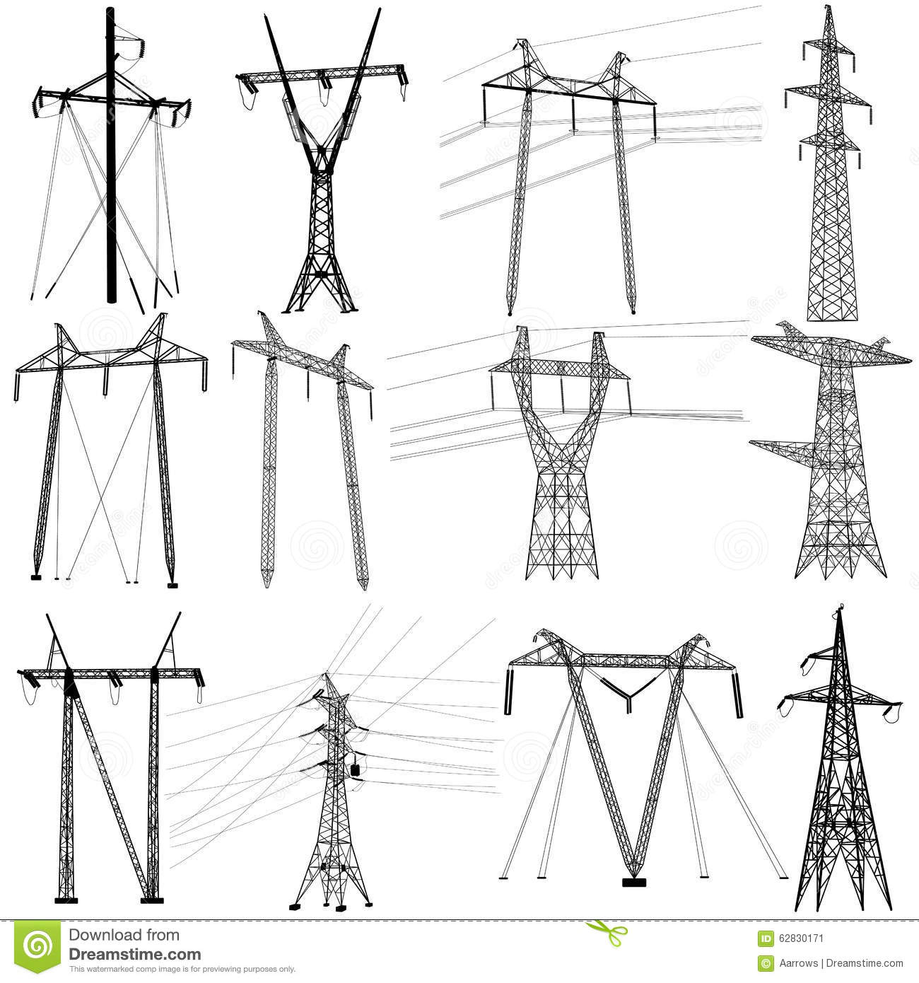 Set Electricity Transmission Power Lines. Vector Stock