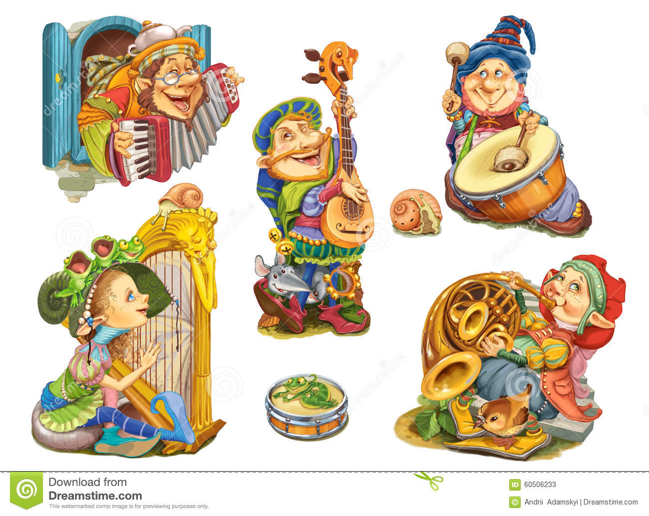 Set Elves Playing Musical Instruments Stock Illustration