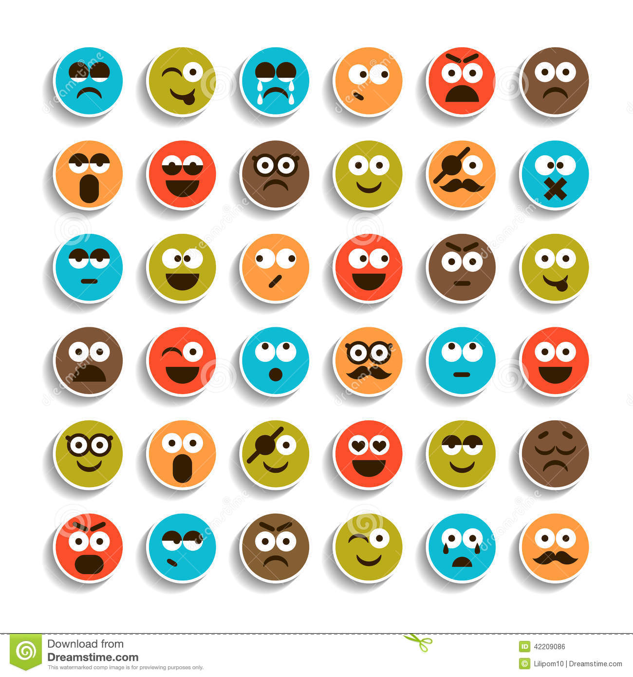 Set Of Emotion Smiling Faces Icons Stock Illustration