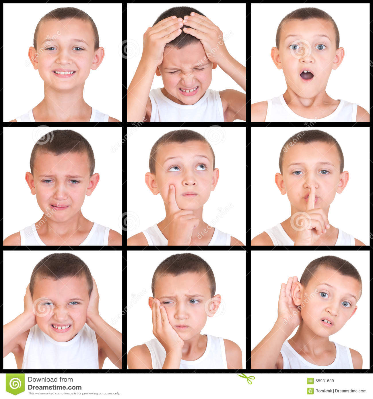 Set Of Emotions Child Stock Image Image Of Sadness