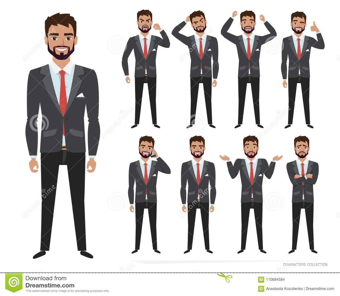 Set Of Emotions And Poses For Business Man Male In A