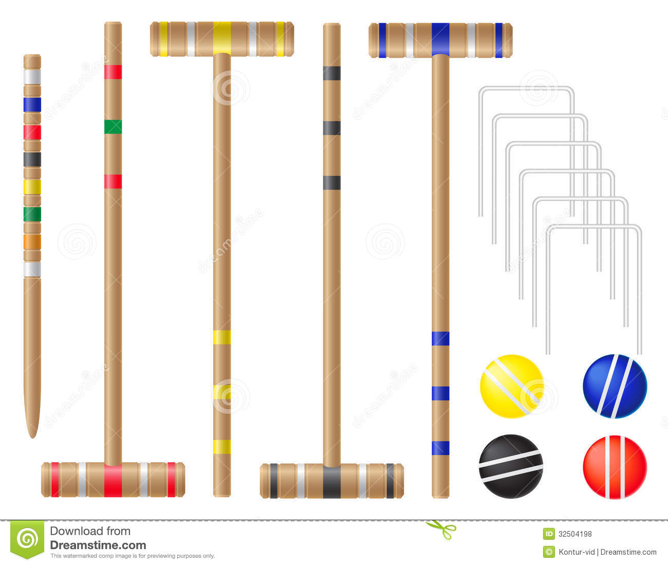 diagram of 6 wicket croquet car computer network set equipment for vector illustration royalty free