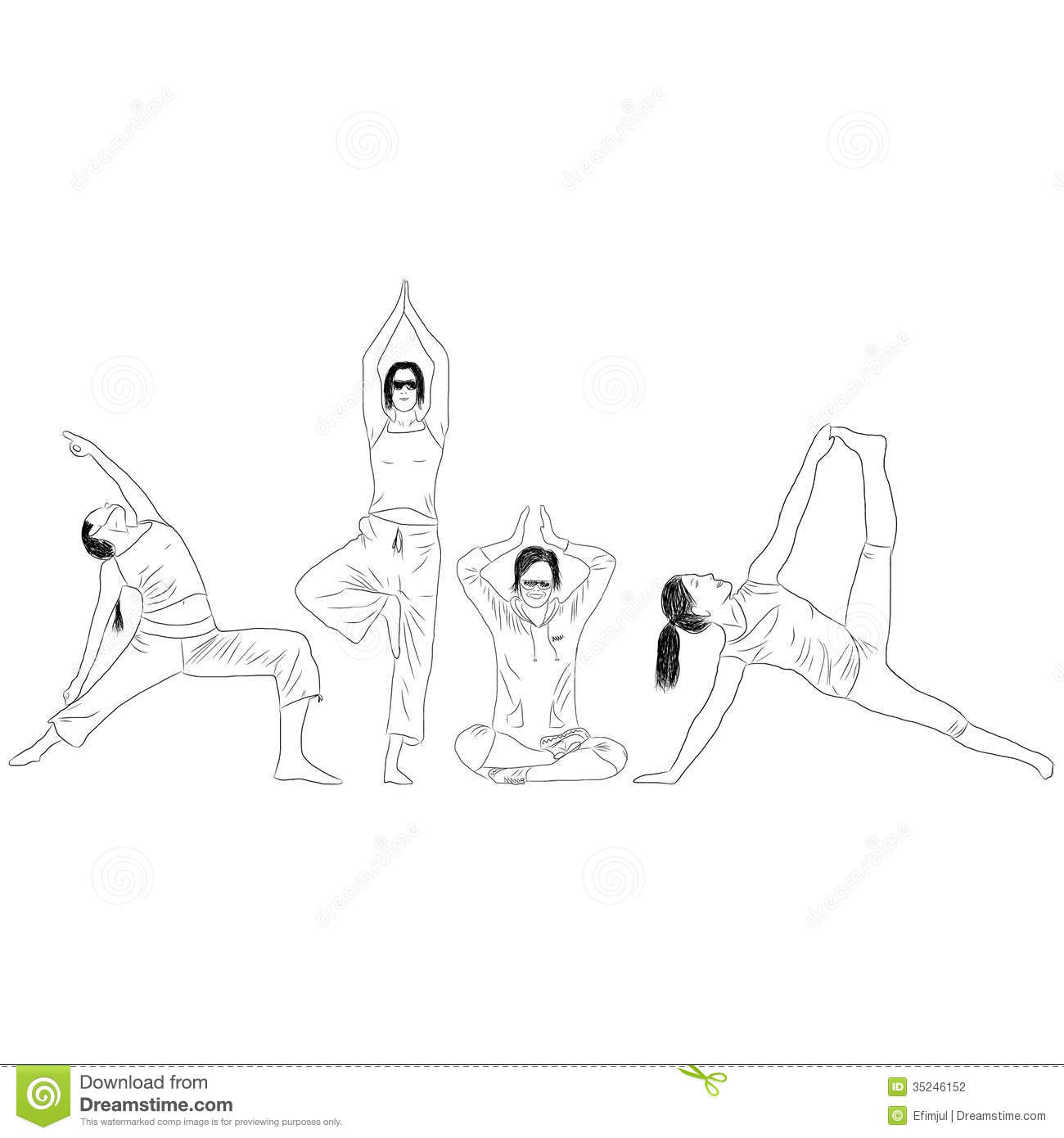 A set of exercises of yoga stock vector. Illustration of
