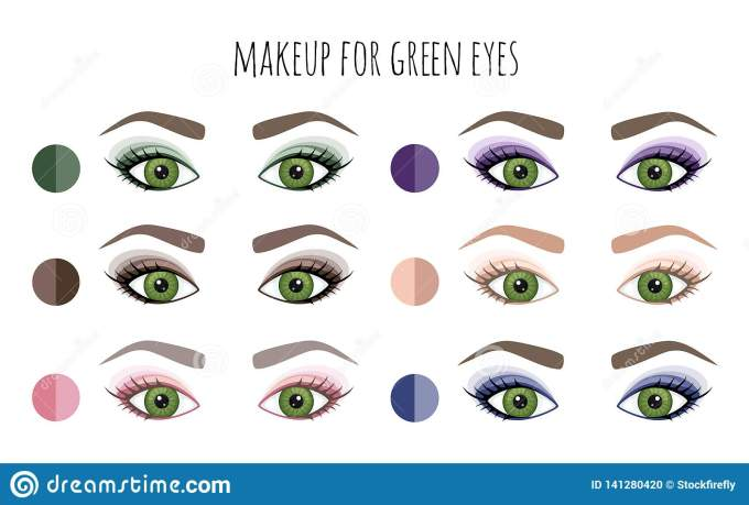 color palette of shadows for green eyes. vector stock vector