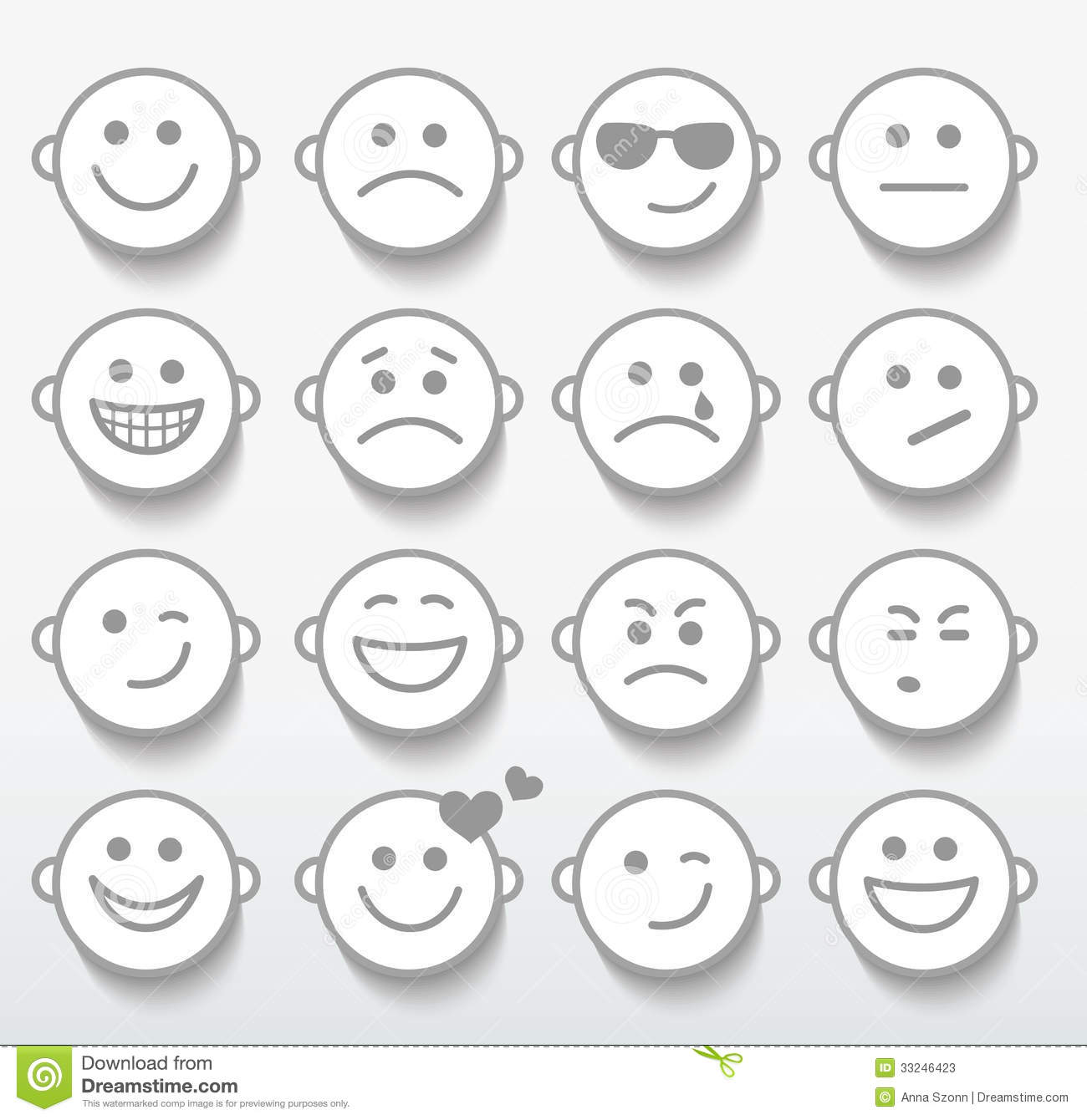 Set Of Faces With Various Emotion Expressions Stock Vector