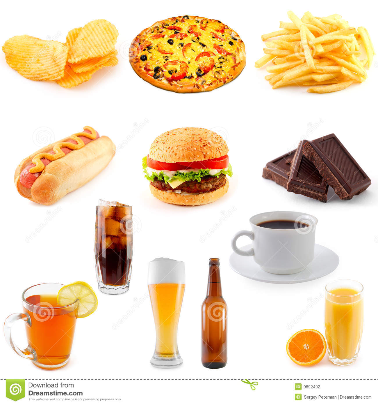 Set Of Fast Food Stock Photography