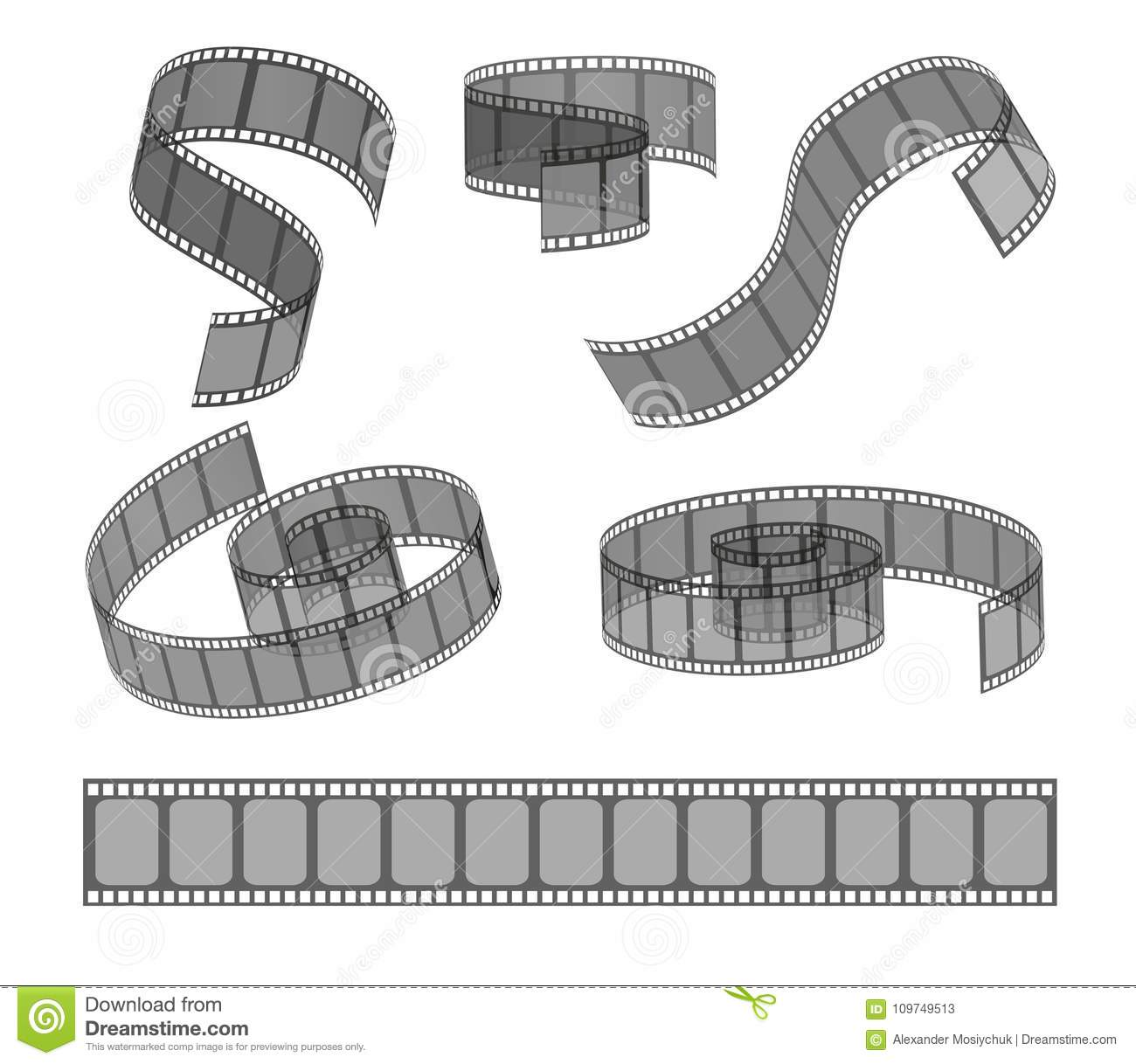 hight resolution of set of filmstrip rolls collection of realistic movie and cinema elements or objects
