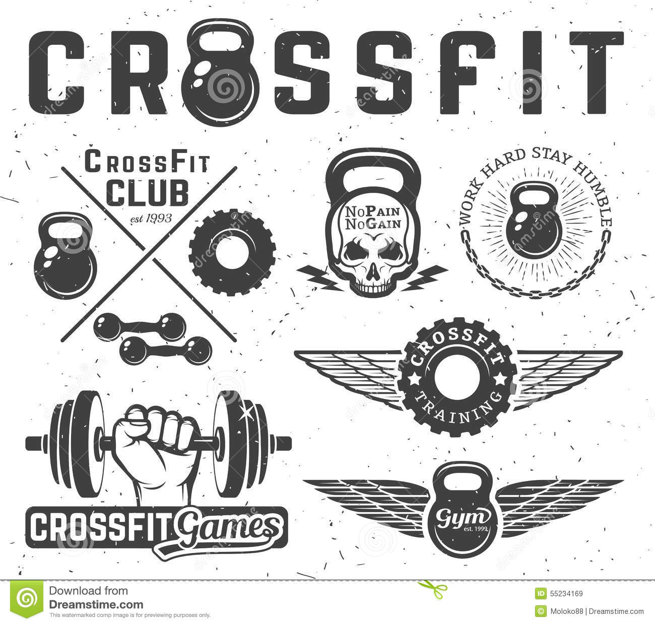 Set Of Fitness Emblems Stock Vector