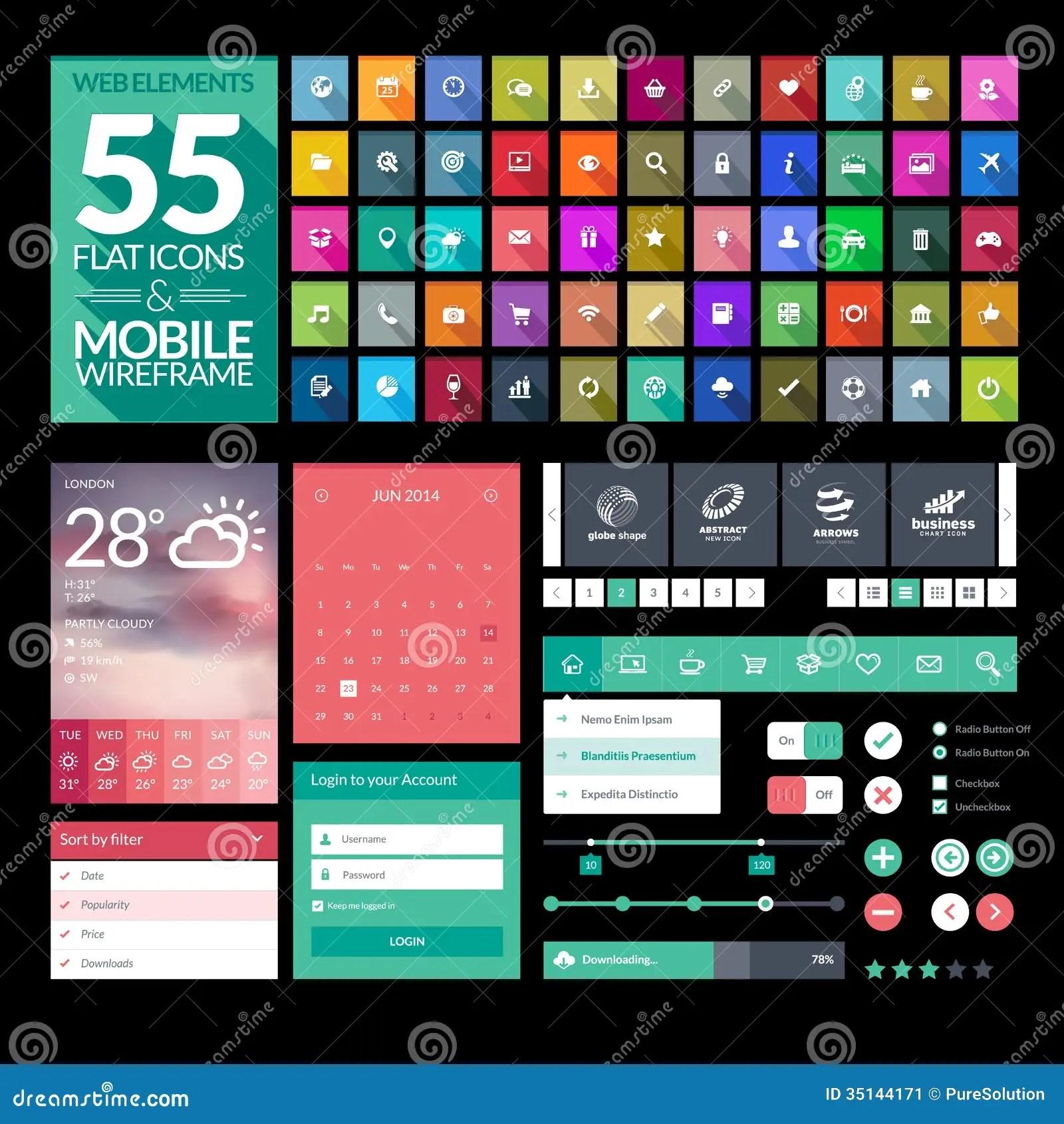 Set Of Flat Design Icons Elements Widgets Stock Image Image 35144171