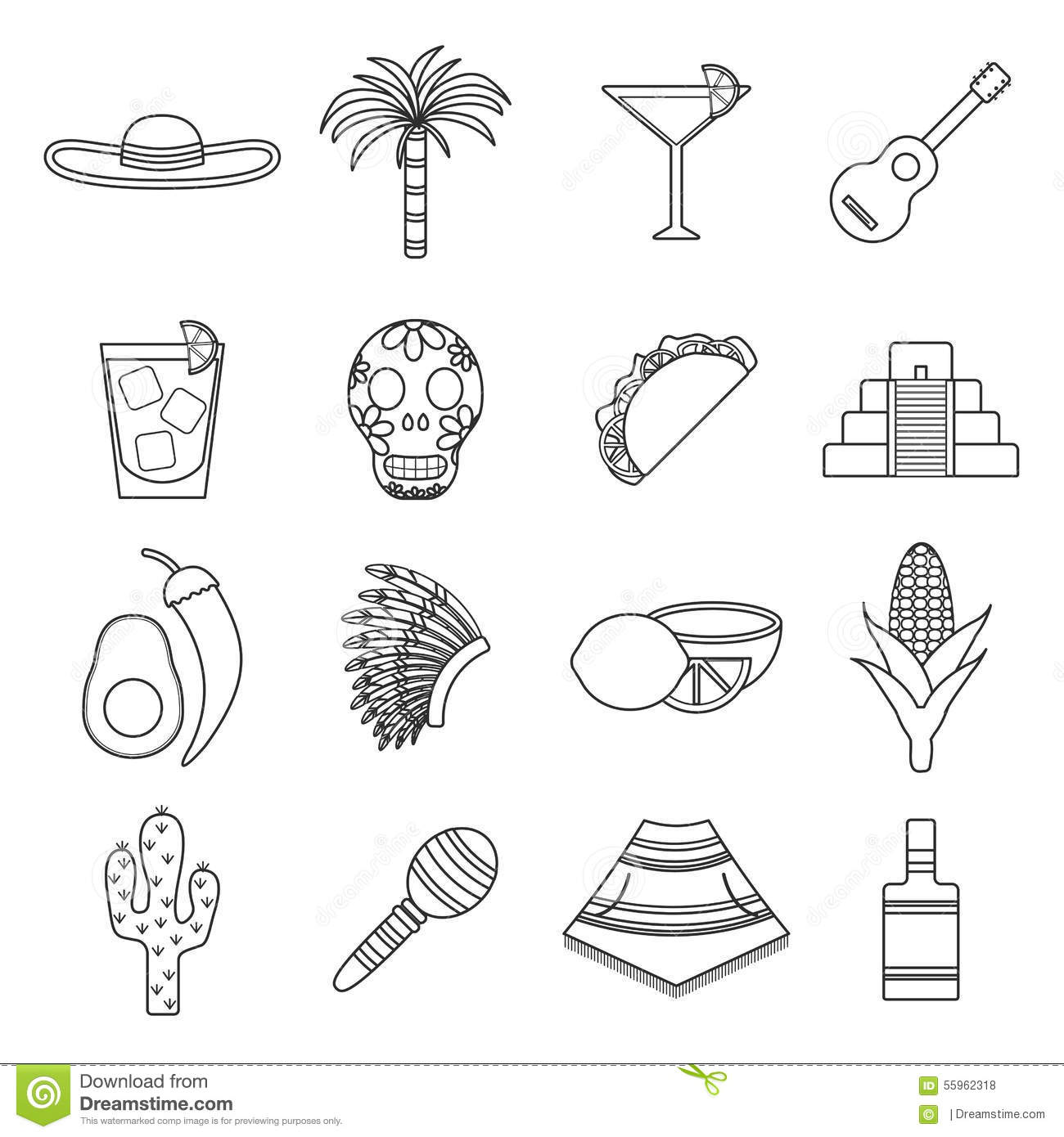 Set Of Flat Outline Icons On Mexica Theme Stock Vector