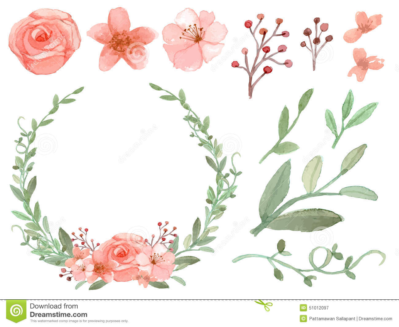 Set Of Flowers And Leaves Vector Stock Vector Image