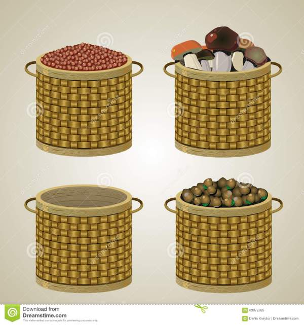 Set Of Four Baskets. Stock Vector - Image: 63072685