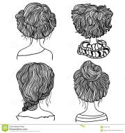 set of four hair styles stock vector