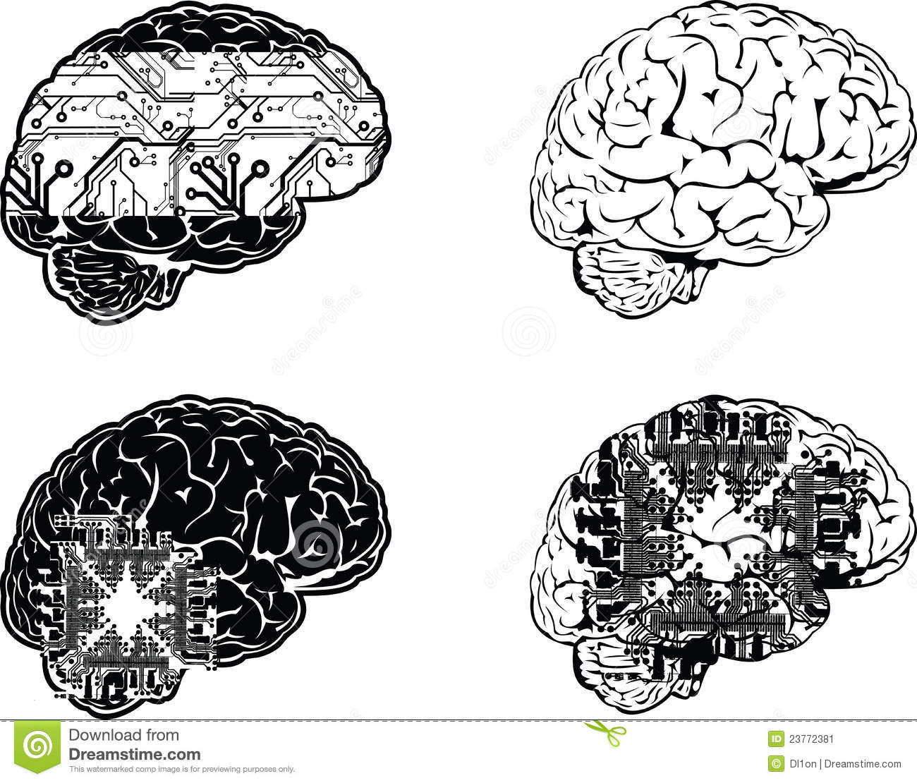 Set Of Four One Color Electronic Brain Stock Vector