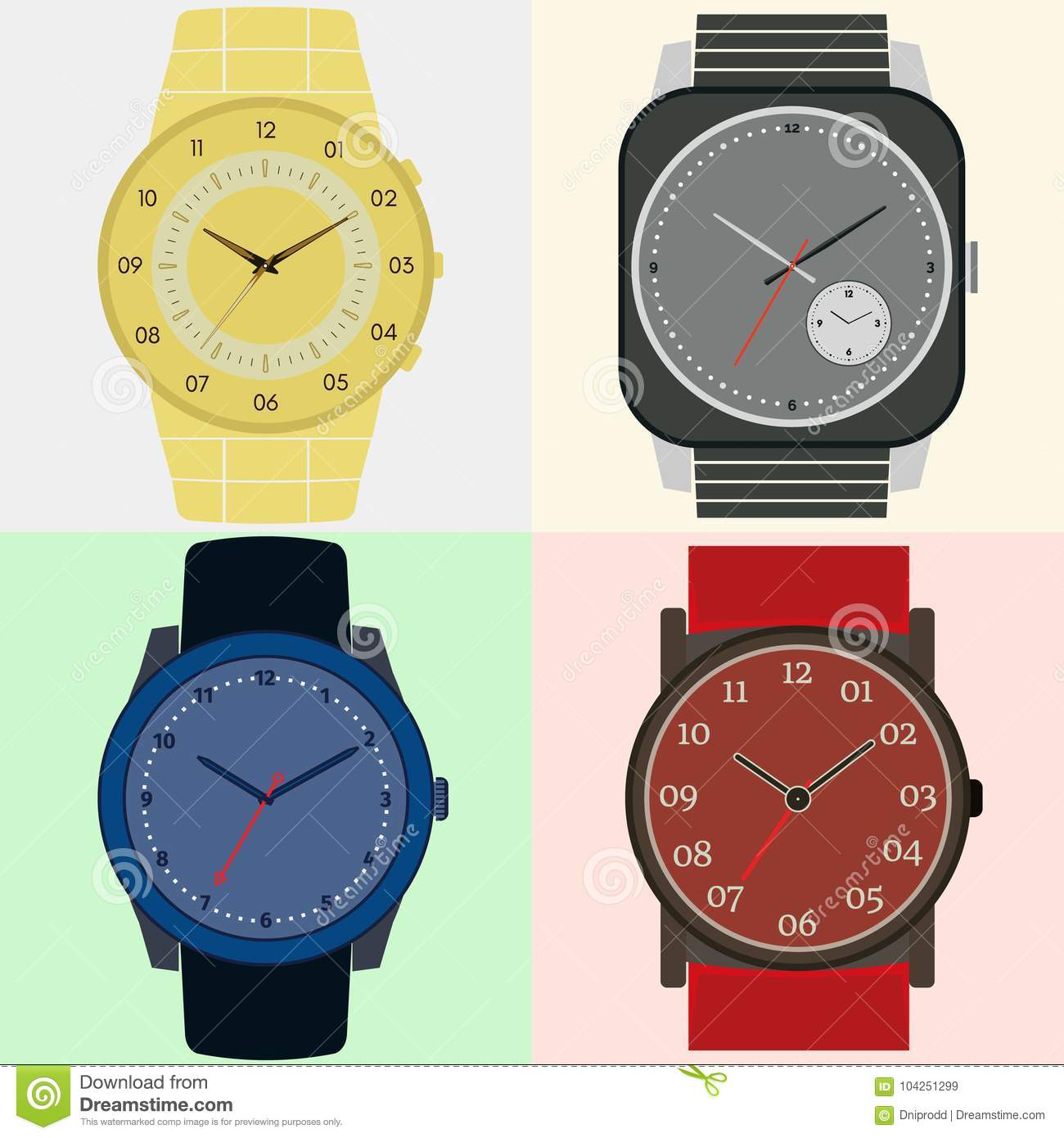 Set Of Four Watches Clock Face With Hour Minute And