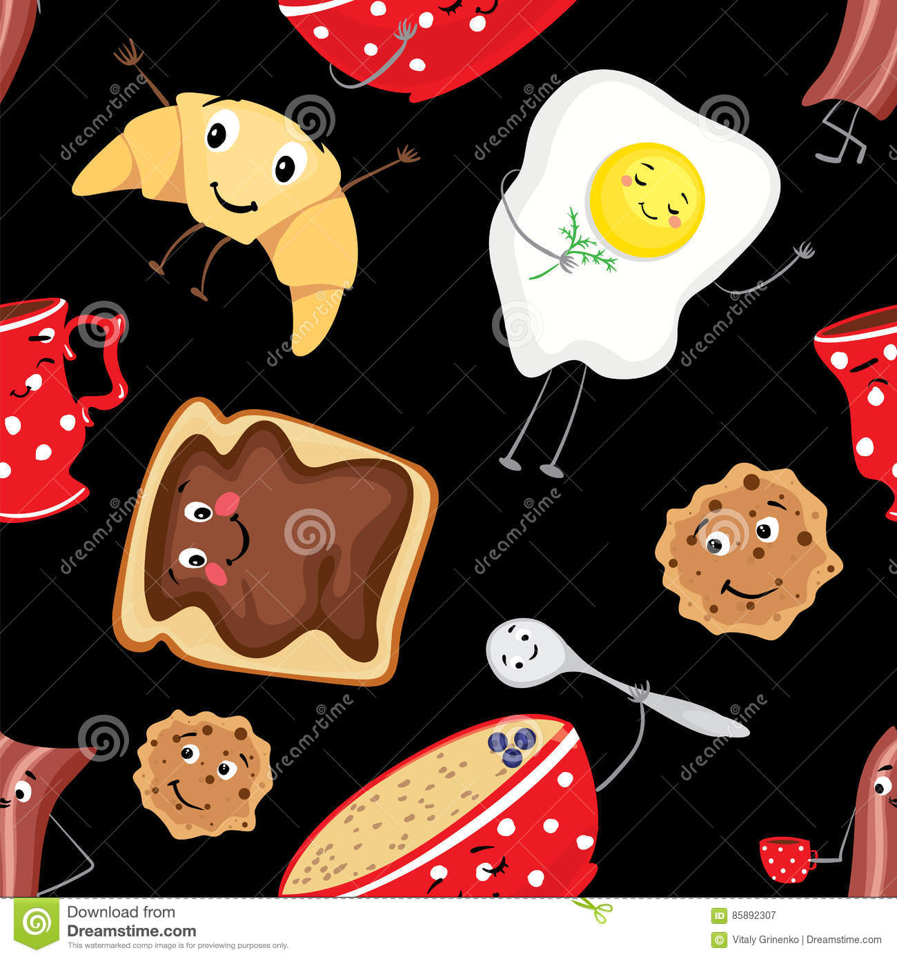 Set Of Fun Food Breakfast In The Form Of Characters A
