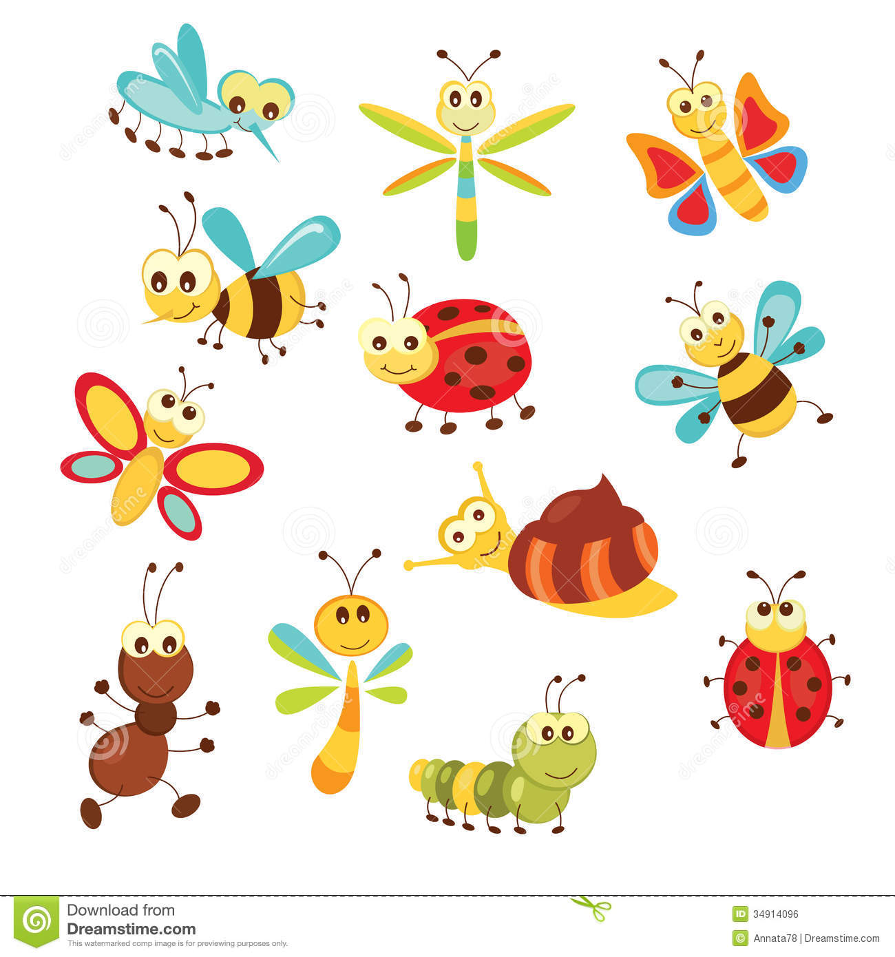 Set Of Funny Insects Stock Illustration Illustration Of