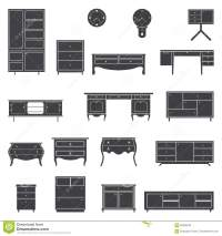 Set Of Furniture Icons In Flat Design. Stock Vector ...