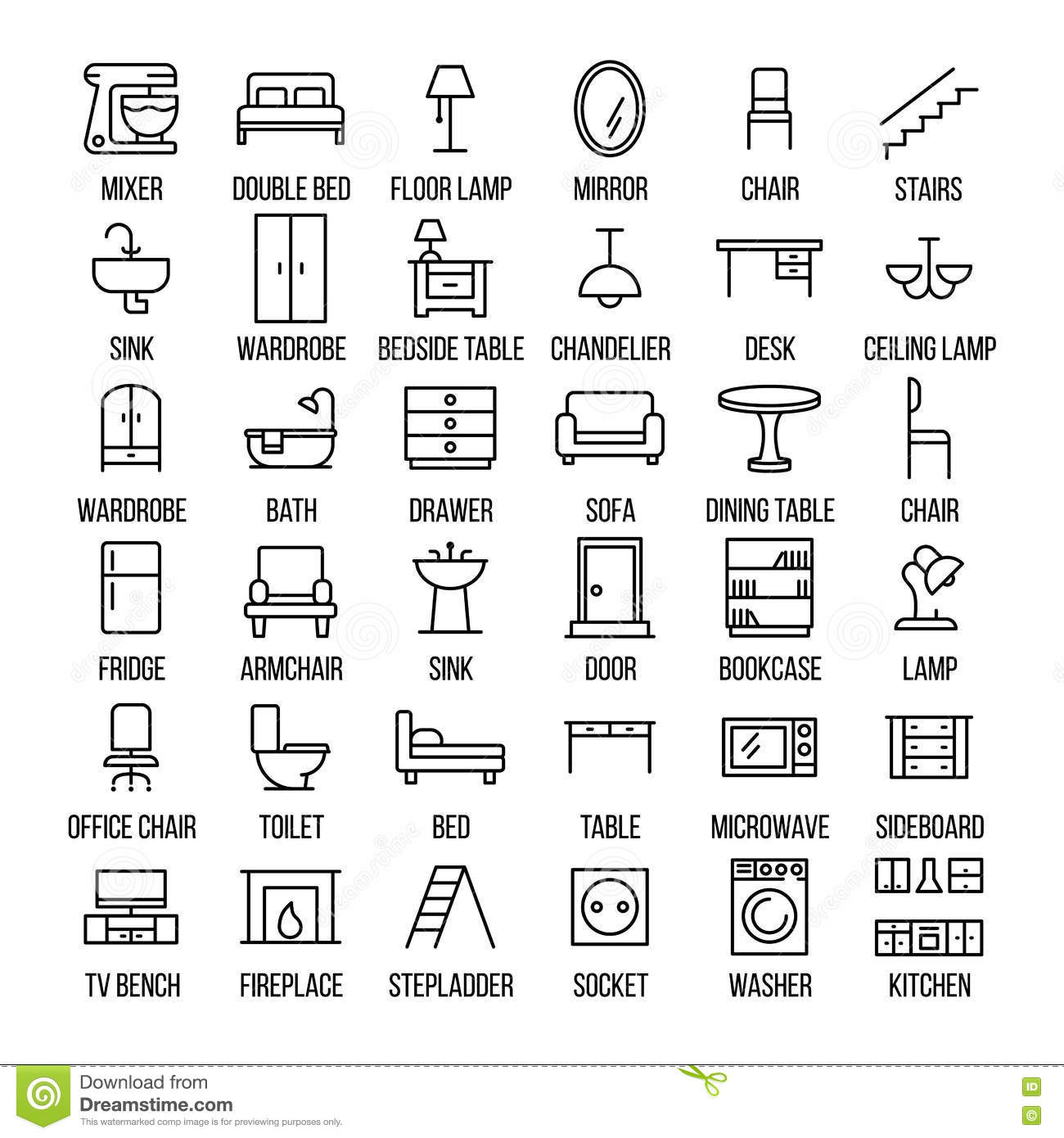 Set Of Furniture Icons In Modern Thin Line Style. Stock