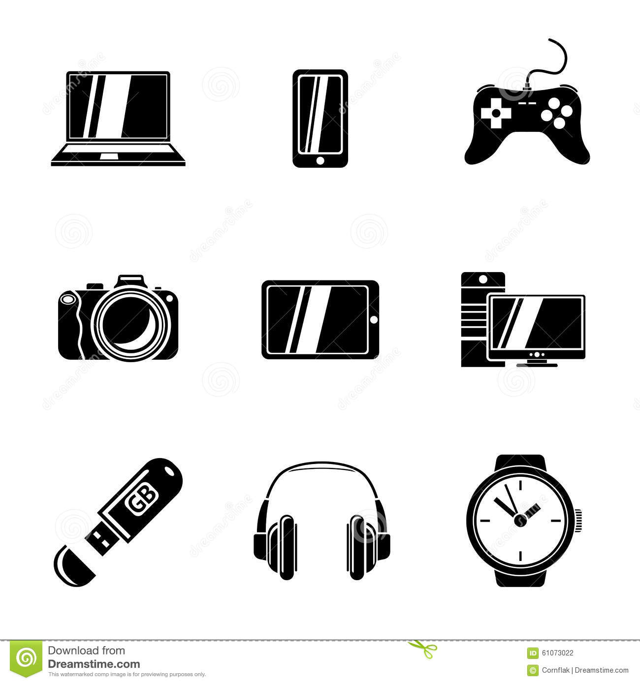 Laptop, Smart Phone, Photo Camera And Headset Stock