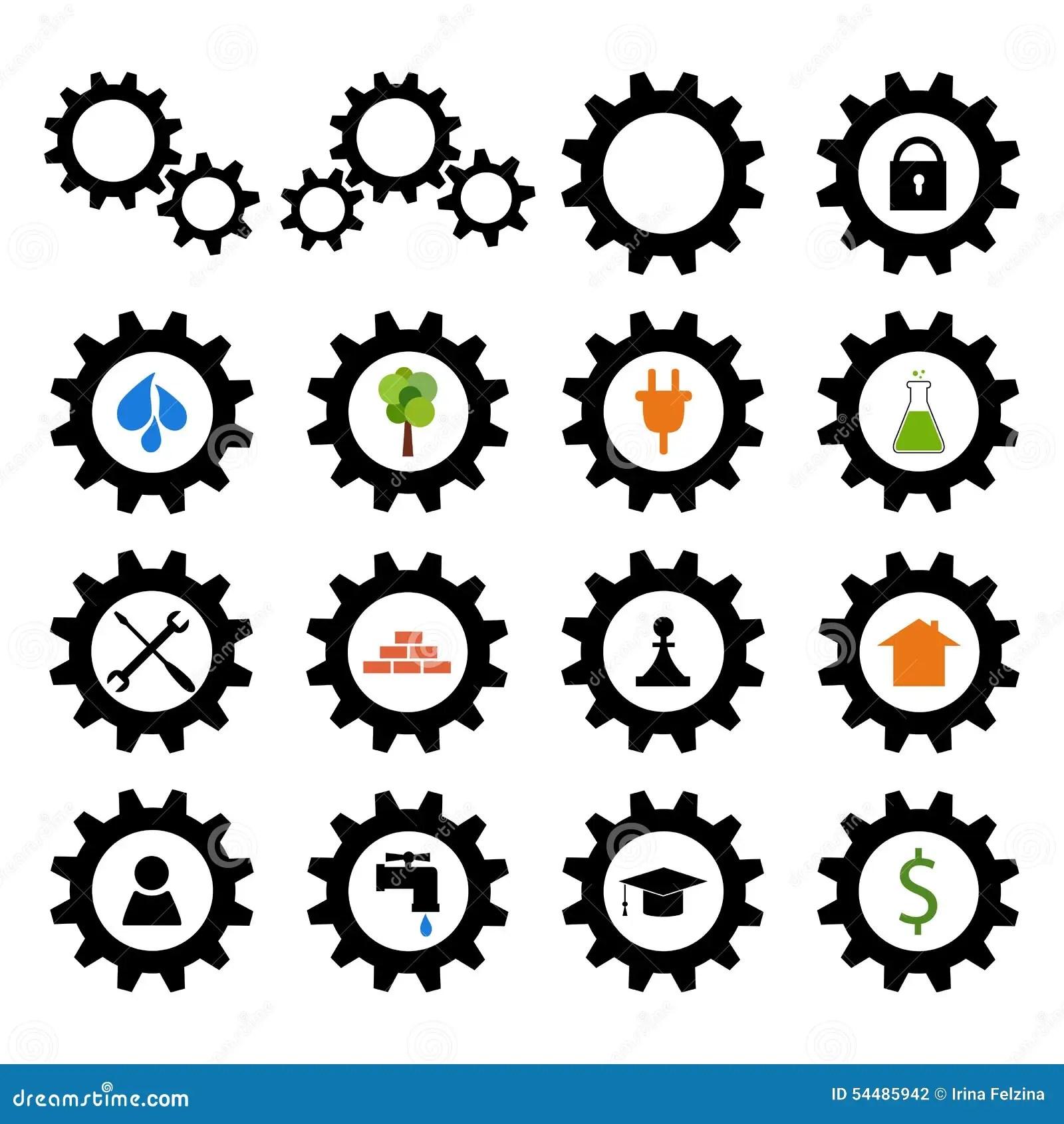 Gearwheel With Plug Cartoon Vector