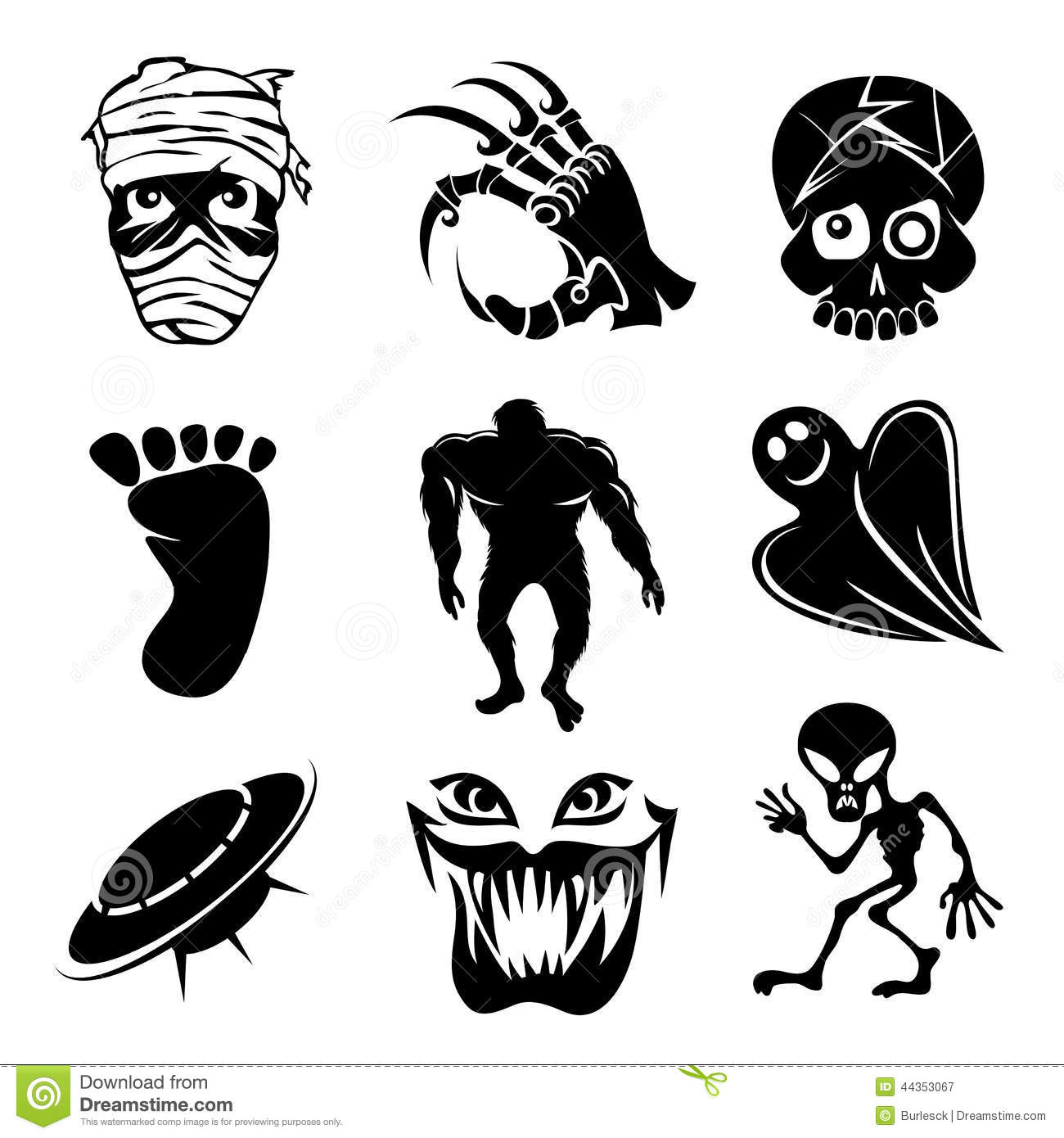 Set Of Ghost Ghouls And Alien Icons Stock Vector
