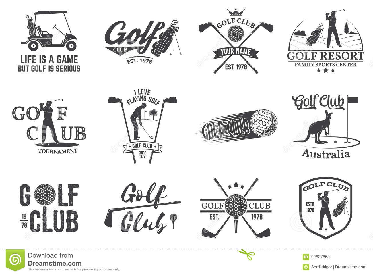 Set Of Golf Club Concept With Golfer Silhouette. Stock