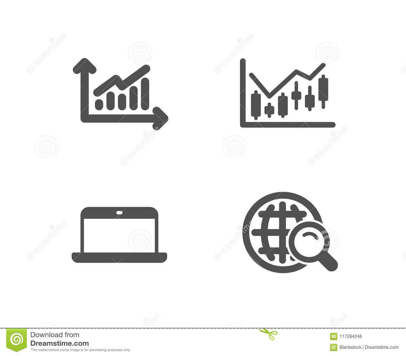 Graph Financial Diagram And Laptop Icons Internet Search