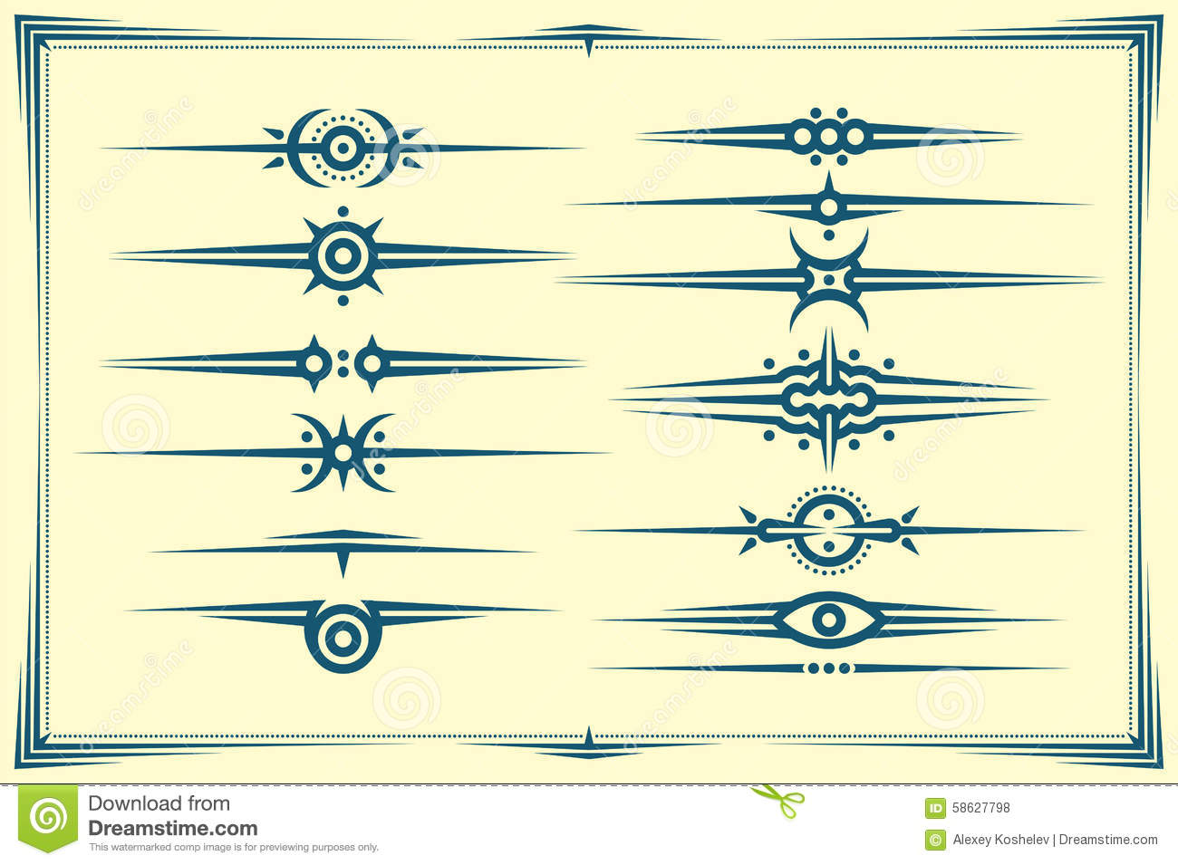 hight resolution of set of graphical dividers with design elements vector clipart