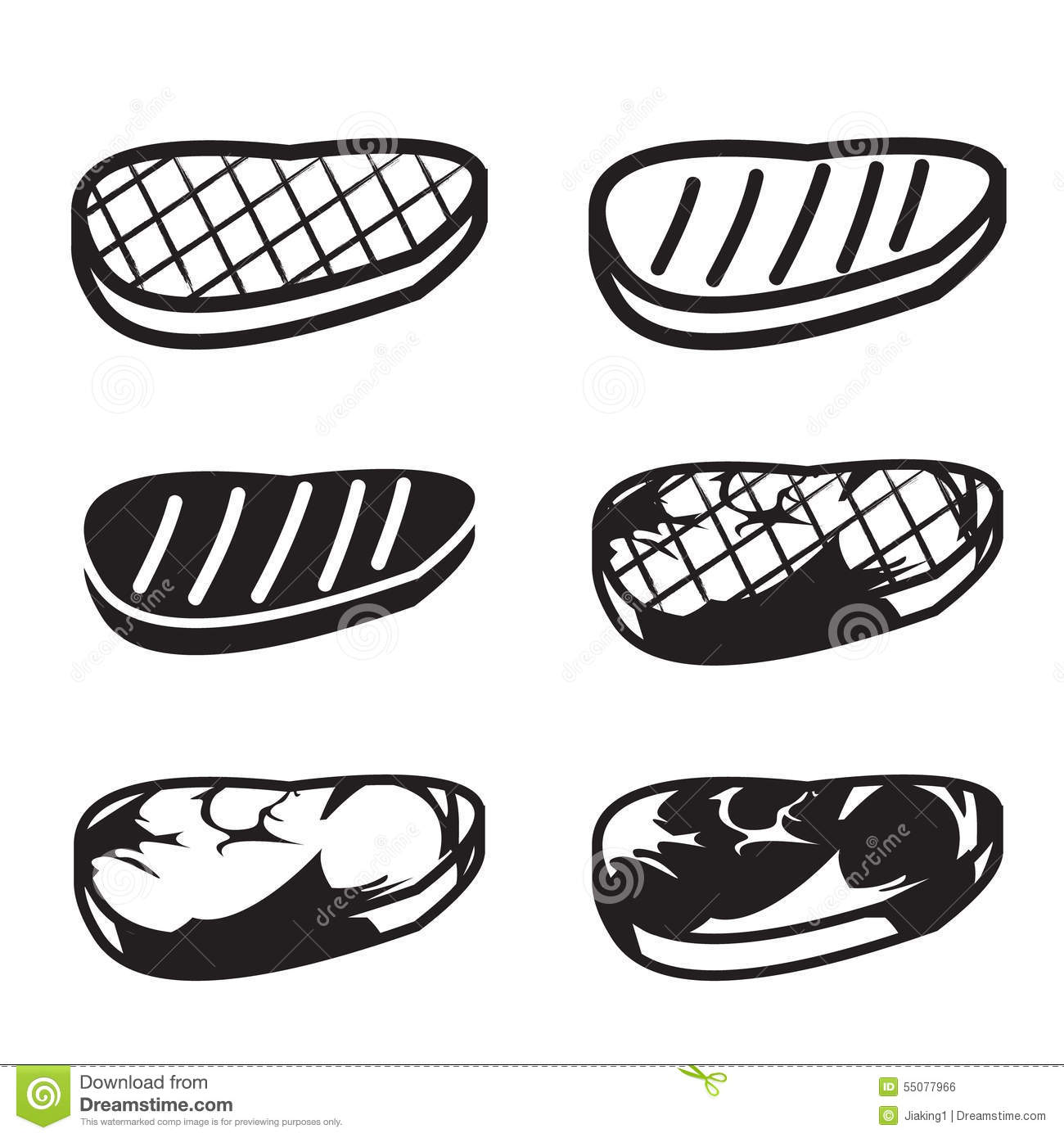 Set Of Grilled Meat Vector Icon Stock Vector