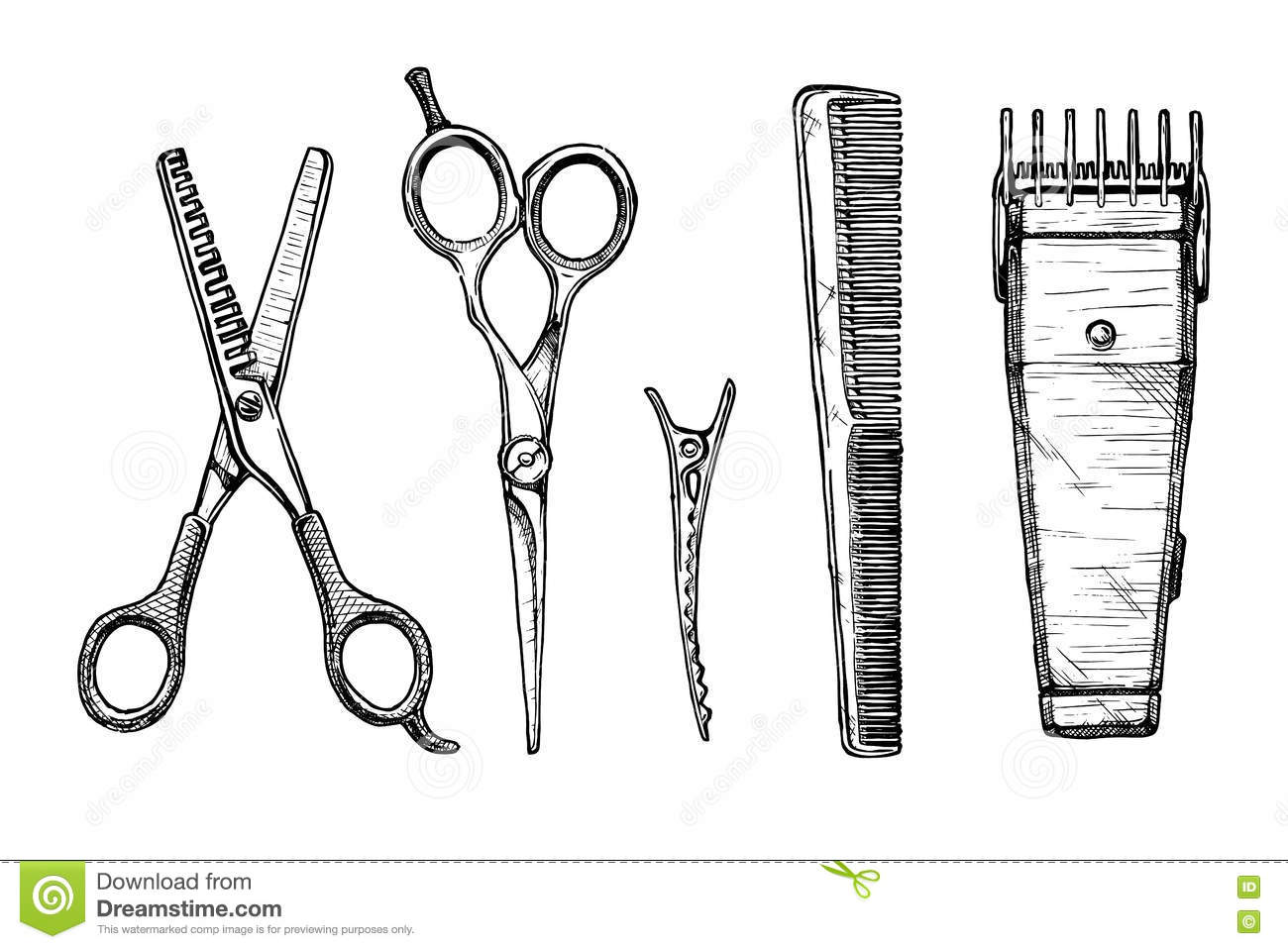 Set of hairdressers tools stock vector. Illustration of