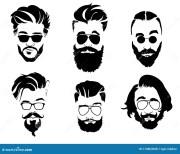 set of hairstyles men in glasses