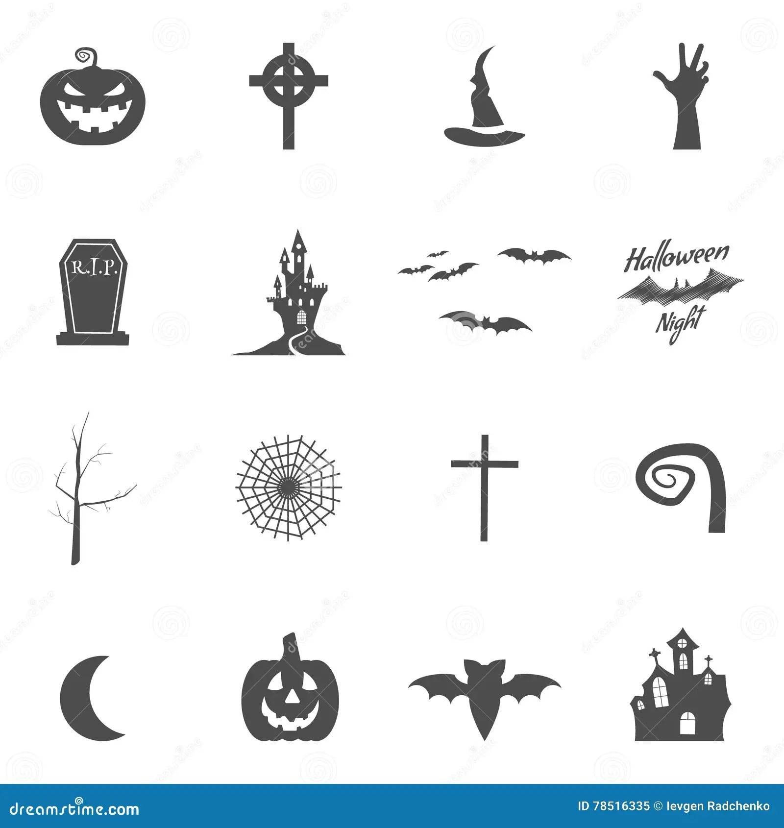 Set Of Halloween Design Creation Tool Kit Icons Isolate