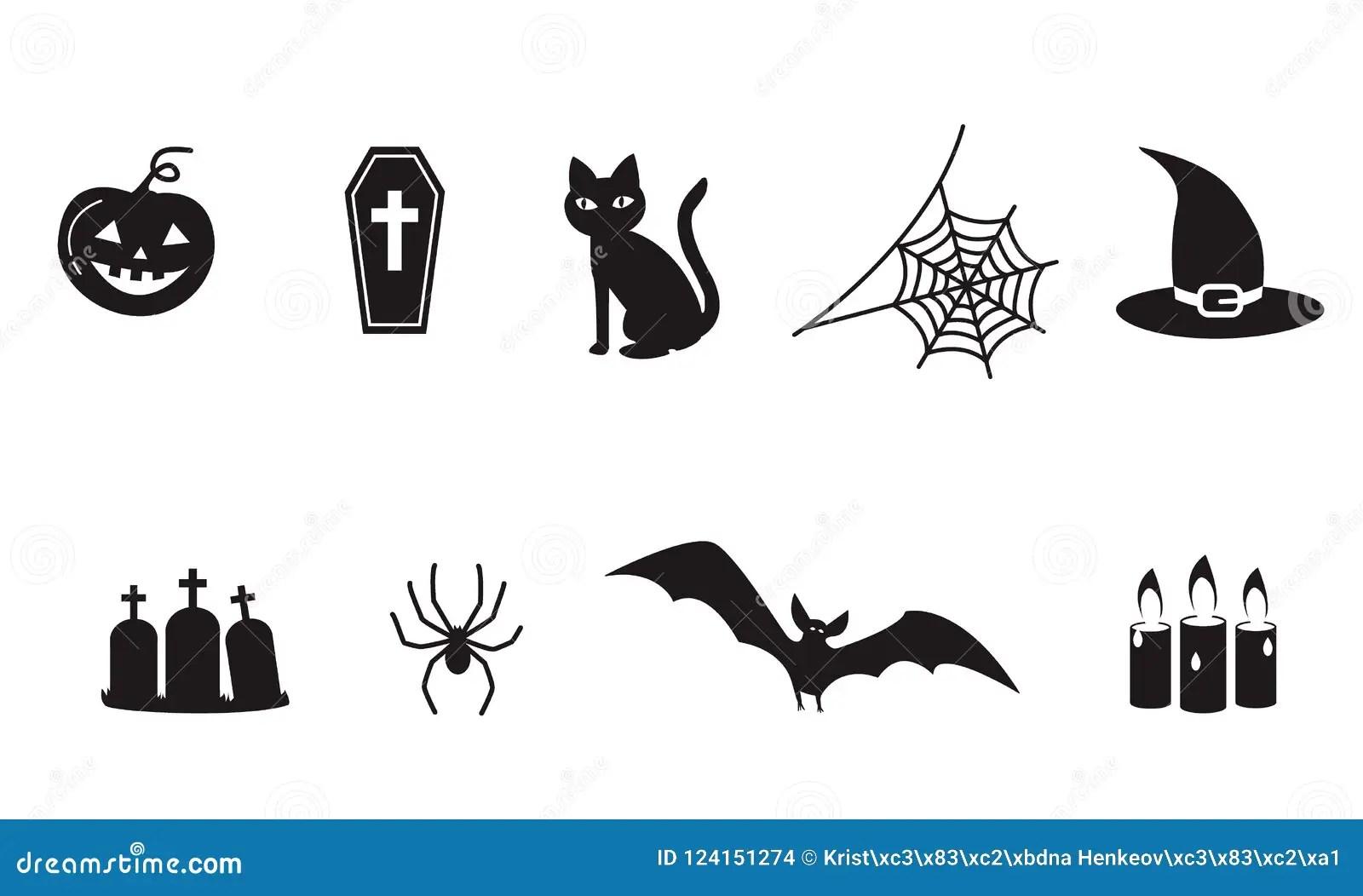 Set Of Halloween Icon Symbols Spider Web Spooky Vampire