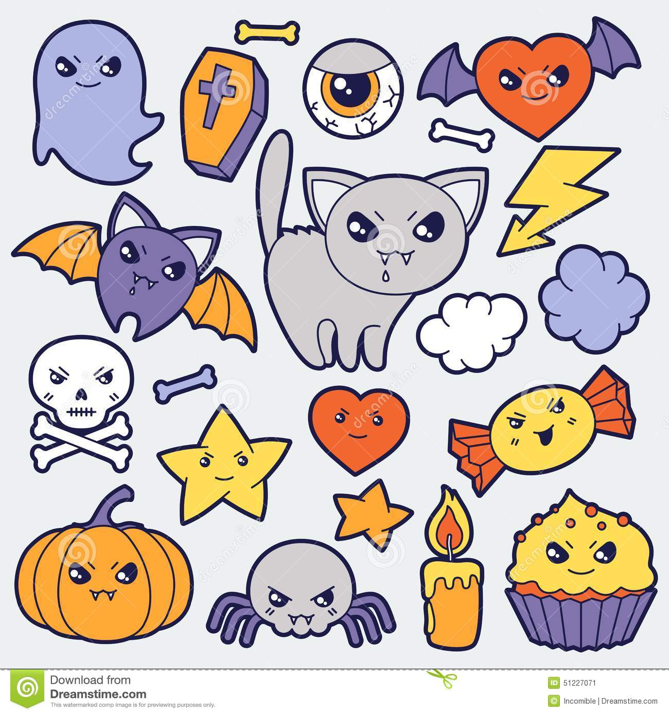 Cute Dog Doodle Wallpaper Set Of Halloween Kawaii Cute Doodles And Objects Stock