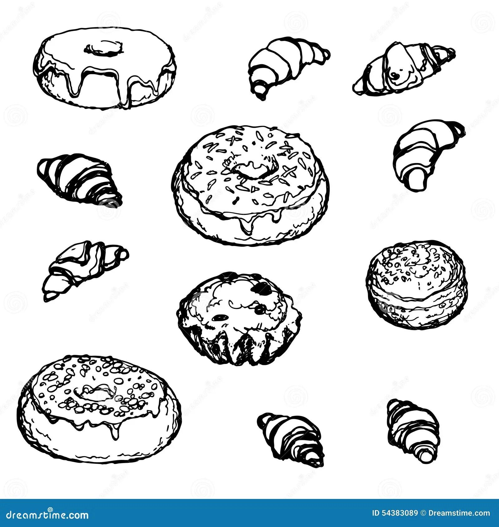 Set Hand Drawn Bakery Donut Croissant Cake Stock Vector